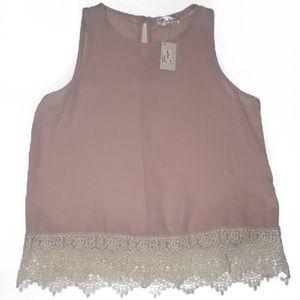 Blush pink rose gold sheer tank top embroidered